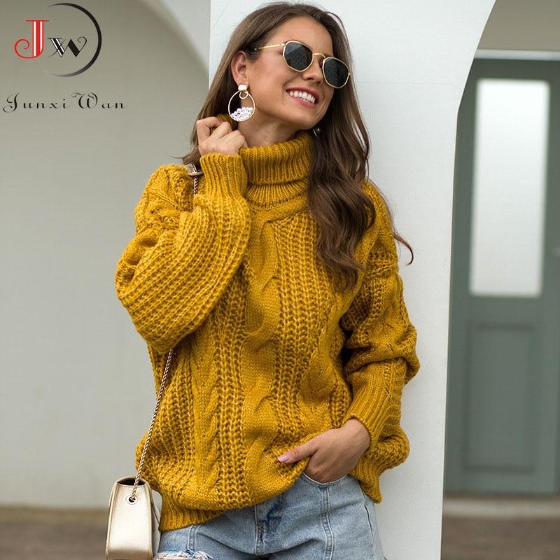 2021 Autumn Winter Women Turtleneck Sweater Loose Oversized Elegant Warm Knitted Pullovers Fashion Solid Tops Knitwear Jumper