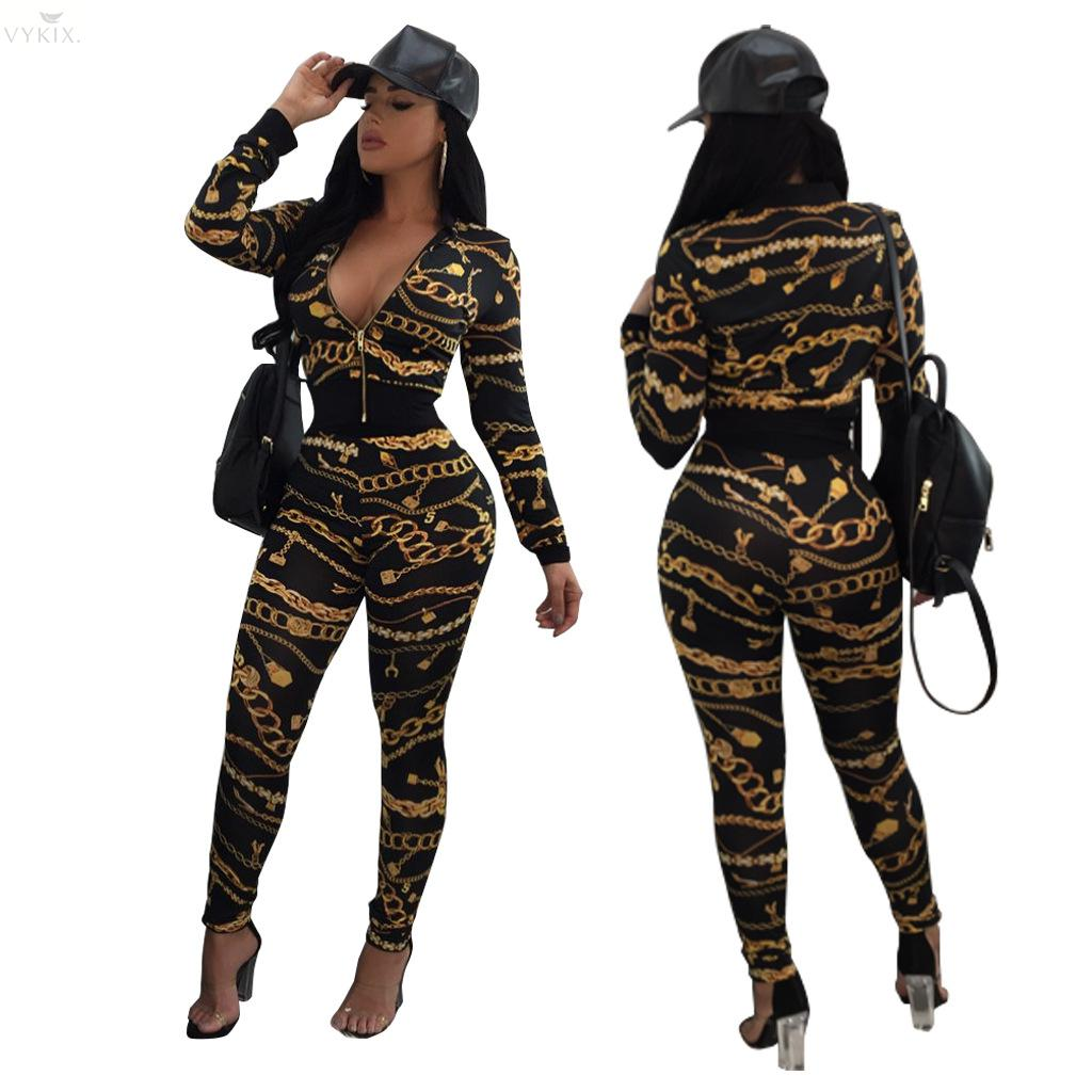 Gold Chain Print Two Piece Set Women Tracksuit Zipped Long Sleeve Cropped Top Bomber Jacket Pencil Pants Ladies Athlesuresuits