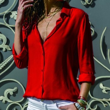 Casual Loose Women Blouse Shirts 2019 Autumn Basic V Neck Plus Size Blouse Long Sleeve Buttons White Shirt Women Tops Clothing 3