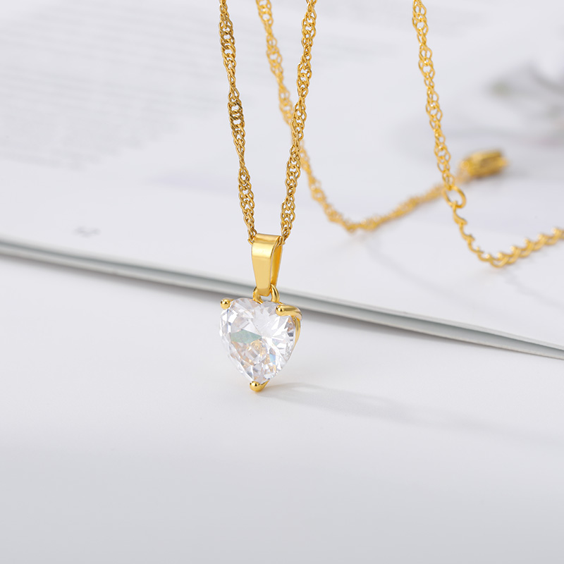 Heart Necklaces For Women Stainless Steel Gold Chain Zircon 4