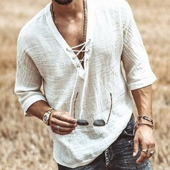 Summer Men's Hollow Out Linen Shirt Male Sexy Deep V Neck Bandage T shirts Casual Solid Color Slim F