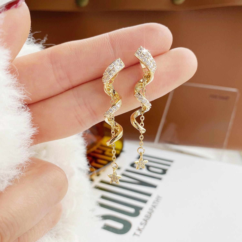 JUWANG DIY Earrings Irregular snake Cute Bling Zircon Stone Stud Earrings for Women Fashion Jewelry 2021 New Korean Earrings