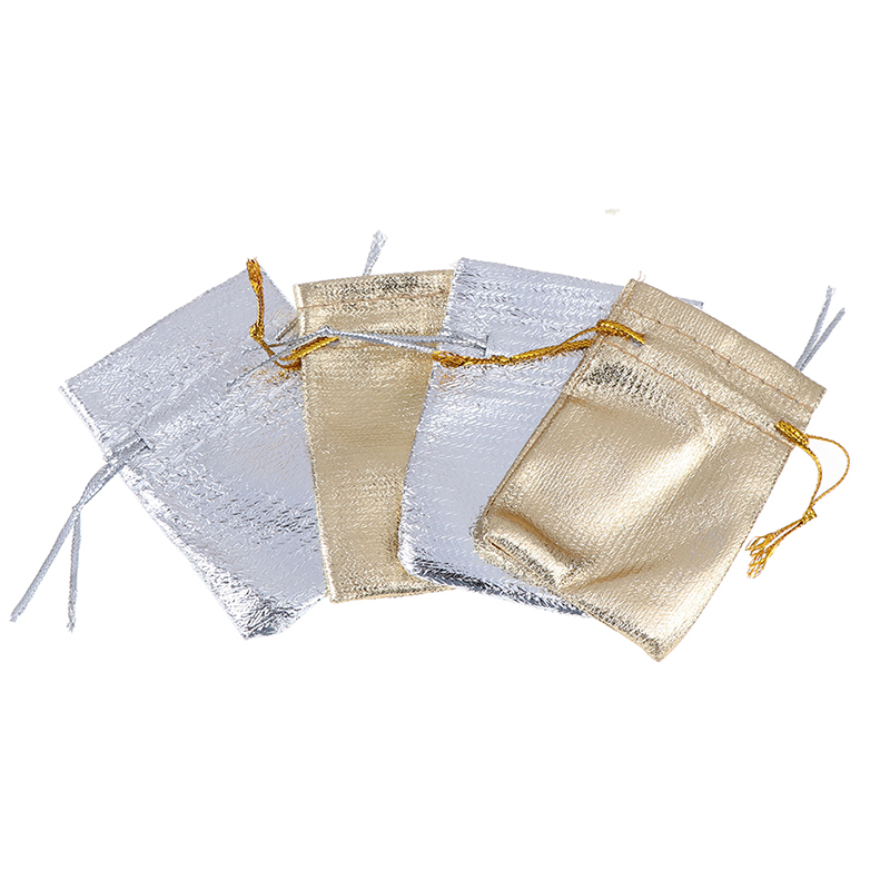50Pcs Gold And Silver Small Gift Bags Drawstring Gift Bags Jewelry Gift Bags Accessories Packaging 5*7cm,7x9cm,9x12cm