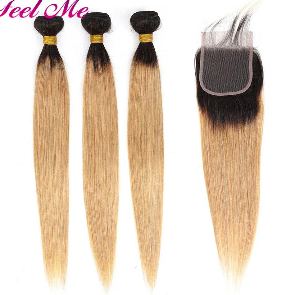 Feel Me Ombre Peruvian Straight Human Hair Bundles With Closure 1b/27 Honey Blonde Bundles With Closure Non Remy Hair Extensions