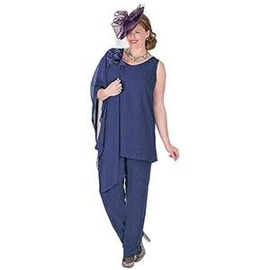 Image 2 - Zarif 3 Adet Anne Gelin Pantolon Takım Elbise Şifon Ceket Anne Gelin Elbiseler Artı Boyutu