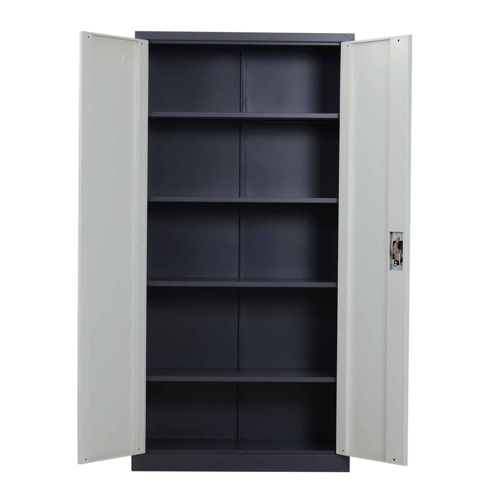 HOMCOM Cabinet Office Warehouse Workshop With Lock 2 Keys 5 Adjustable Shelves Metal 90 × 40 × 180 White Cm