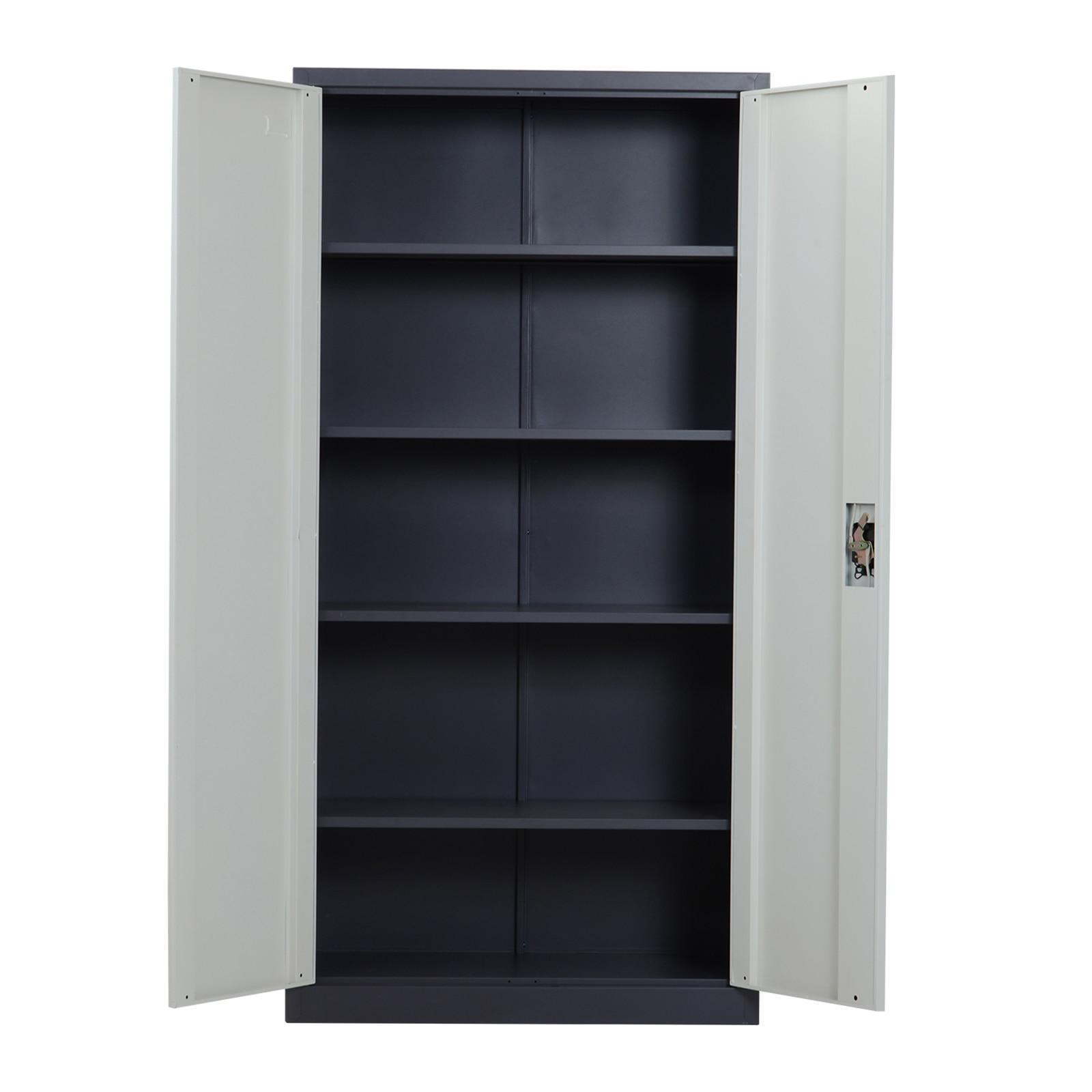 HOMCOM cabinet office warehouse workshop with lock 2 keys 5 adjustable shelves metal 90 × 40 × 180 white cm
