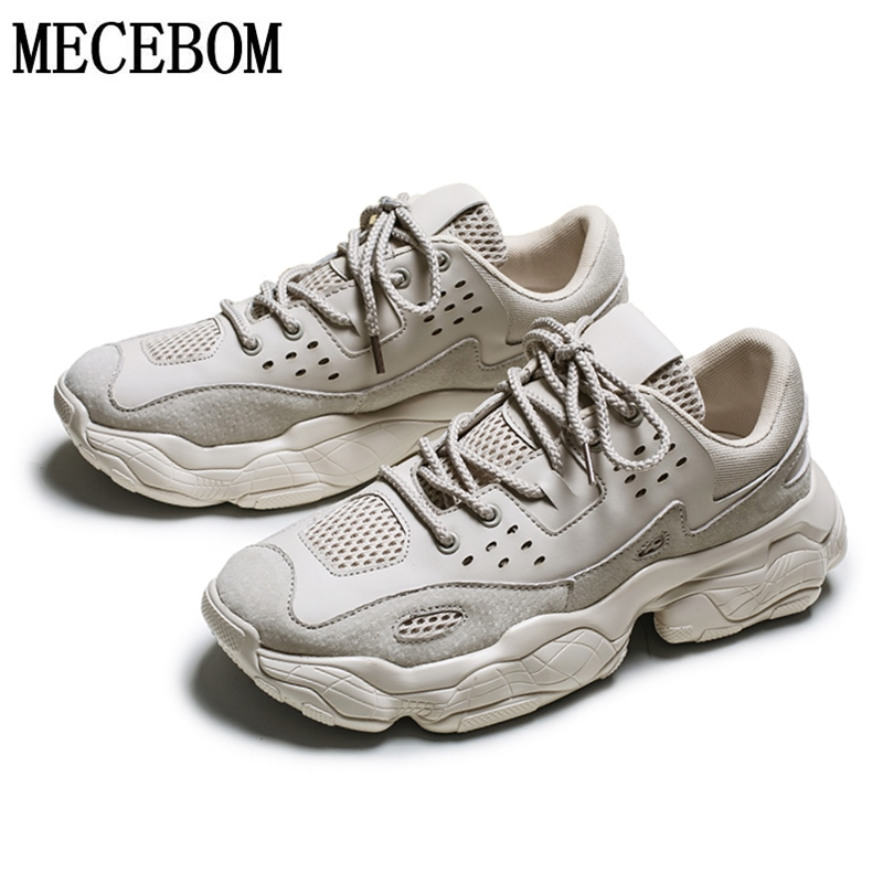 Men Chunky Sneakers Trend Patchwork Thick Sole Dad Shoes For Male Lace-up Handsome Men Casual Shoes Height Increasing