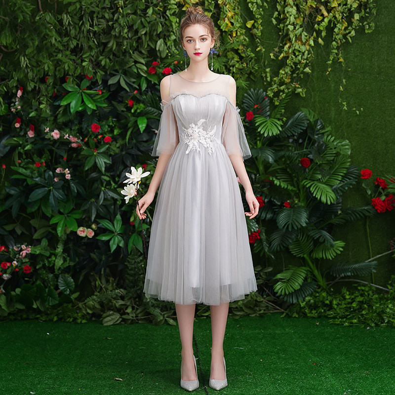 Gray Bridesmaid Dresses A Line Tea- Length Women Wedding Party Gowns Sexy O-Neck Sling Half Sleeve Elegant Vestido De Festa R002