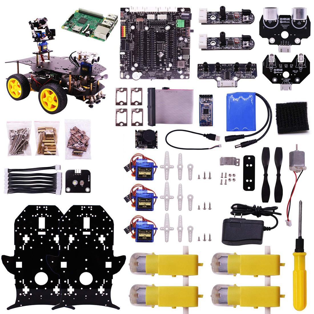 Bluetooth Ultimate Starter Kit Programmable Smart Robot Car Kit With Camera 4WD Electronics Education For Raspberry 4B (1/2/4G)