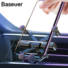 Baseuer Gravity Car Phone Holder For iPhone Xiaomi Universal Air Vent Car Mount Holder For Phone in Car Mobile Phone Holder car cute cartoon mobile phone flexible gravity holder