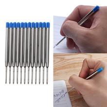 10 pces escola escritório caneta esferográfica reenchimento liso fino 0.5mm médio para parker cruz