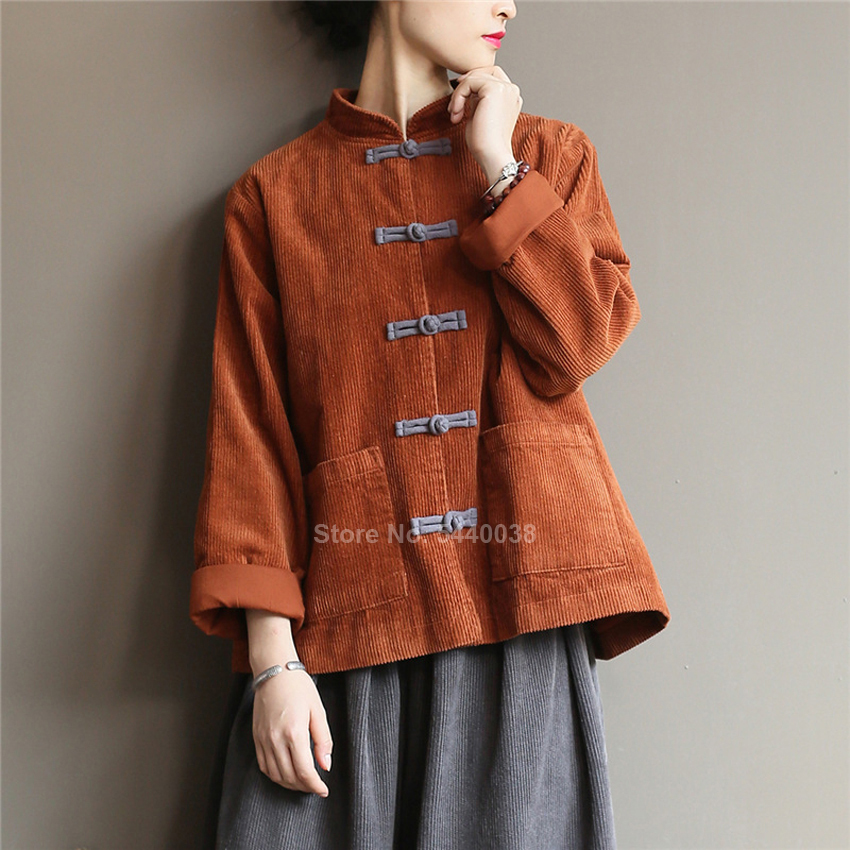 Autumn Winter Corduroy Jacket For Women Traditional Chinese Costumes Retro Vintage Shirt Blouse Solid Color Tang Suit Hanfu