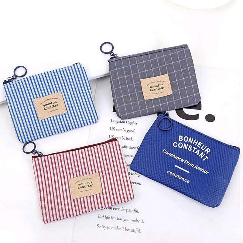 Simple Stripe Canvas Zero Wallet Children Clutch Lady Girl Boy Zipper Wallet Women Pocket Pouch Keys Coin Bags Case