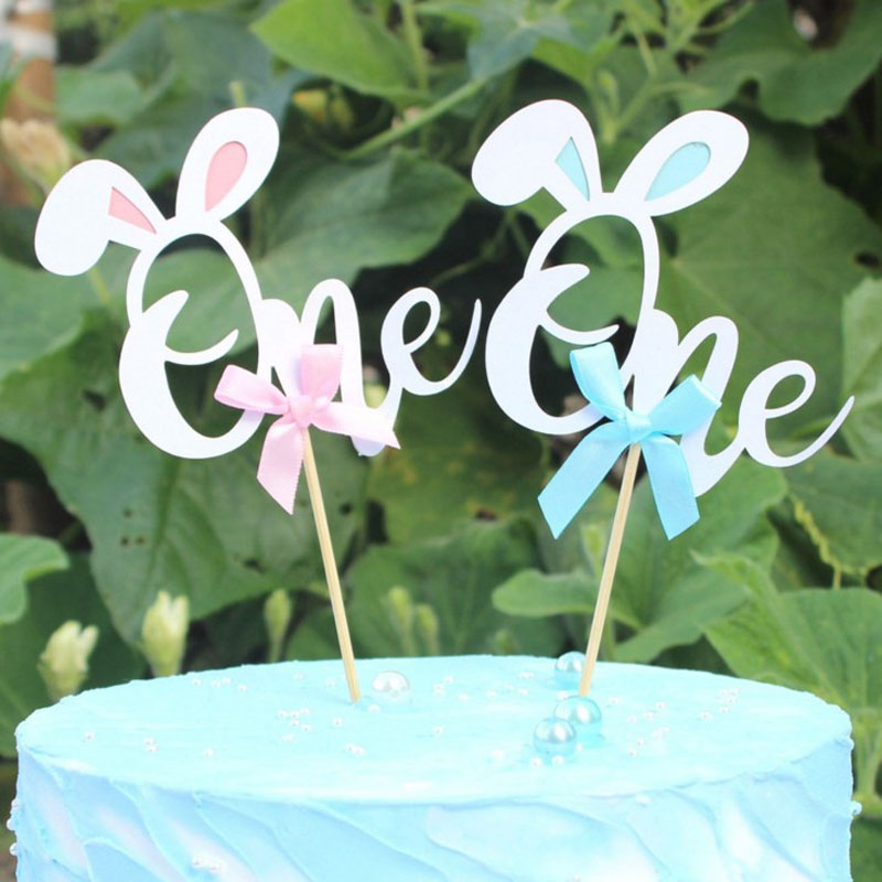 <font><b>1</b></font> Pcs Pink Blue Rabbit Ear Papper Cake Topper First <font><b>Birthday</b></font> Party One <font><b>Birthday</b></font> <font><b>Decorations</b></font> Baby <font><b>Girls</b></font> Boys Cupcake Toppers image