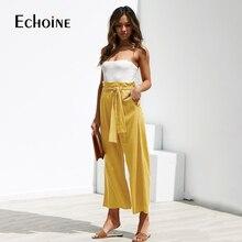 Pantalones de pierna ancha de cintura alta para mujer, pantalón informal de lino y algodón, holgado, estilo palazzo, color negro y amarillo, para verano y otoño