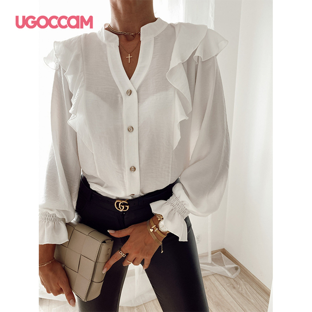 UGOCCAM Women Blouse Office Ladies Sexy Ruched Shirts Autumn Long Sleeve Elegant Casual Solid Shirts Tops Plus Size Tops Ropa Mu 6