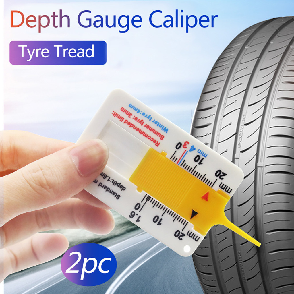White/&Yellow Measure Tool Tyre Tread Depth Gauge Tread Depth Meter for Car Trailer Motorcycle Caravan Trailer Wheel Car Accessories