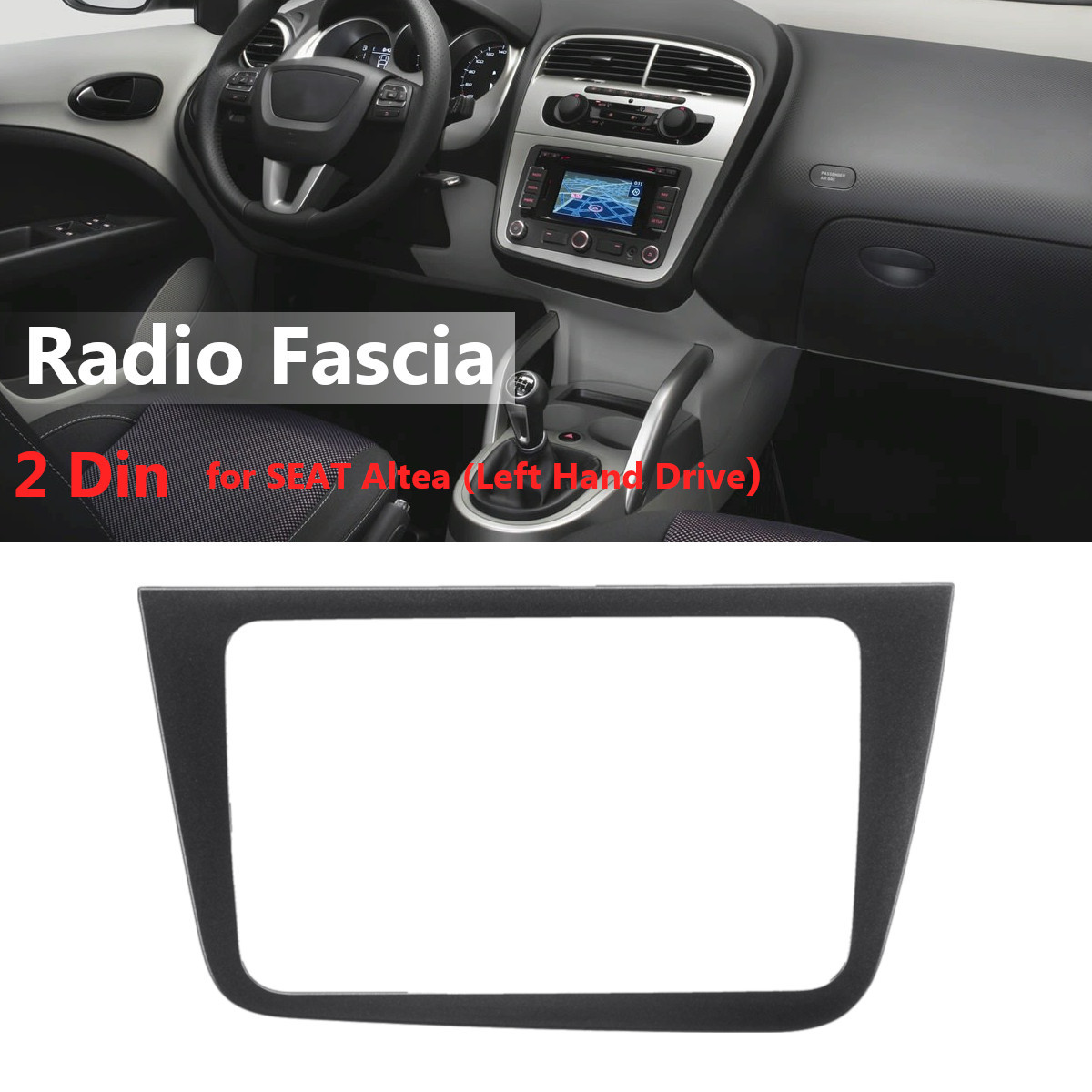 2 Din Car Stereo Radio Fascia Panel Plate Frame CD DVD Dashboard Audio Frame For SEAT Altea Left Hand Drive Interior Trim image