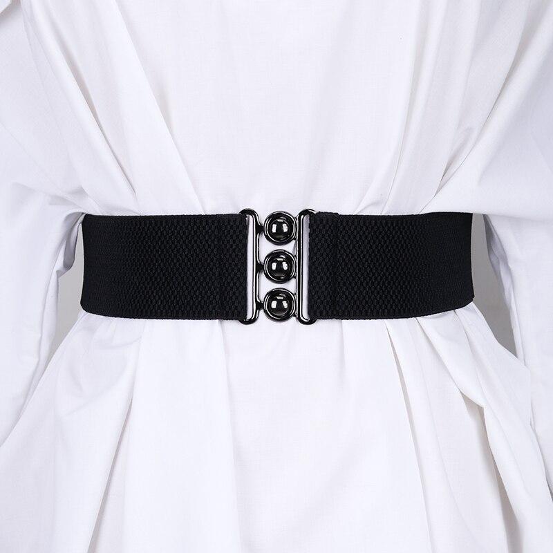 Woman Elastic Band Wide Dress Waistbands NEW Stretch Leopard Waist Cinch Belt Fashion Decorative Cummerbunds Coat Black Women