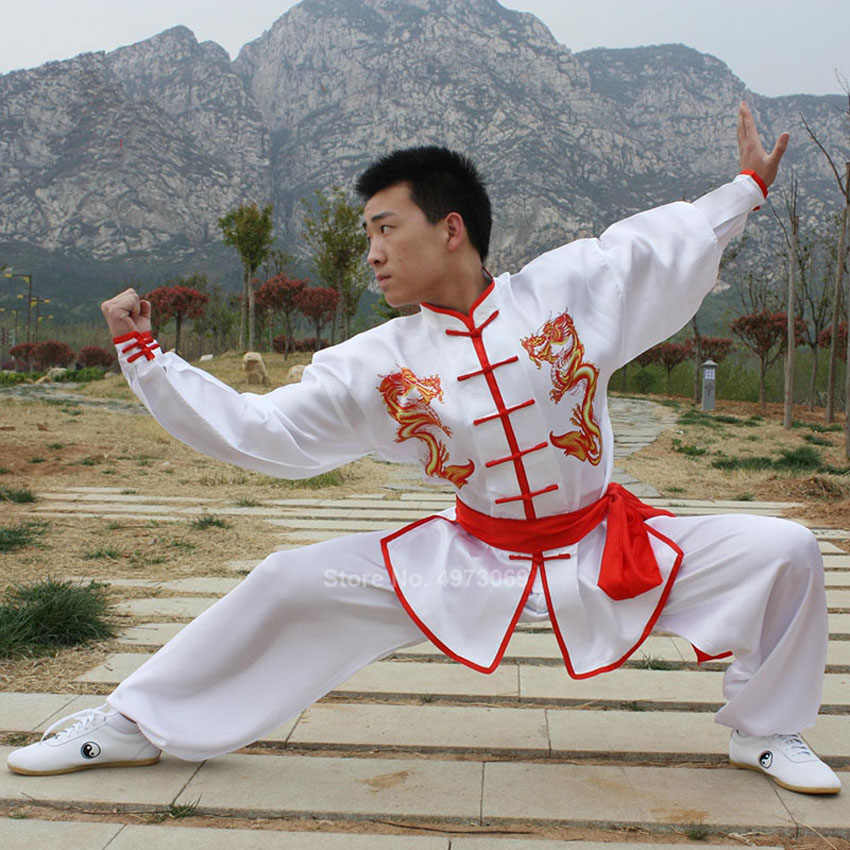 Chinese Stijl Traditionele Tangsuit Set Mannen Vrouwen Taichi Kungfu Uniform Stage Performance Dans Custume Draak Borduurwerk Outfits