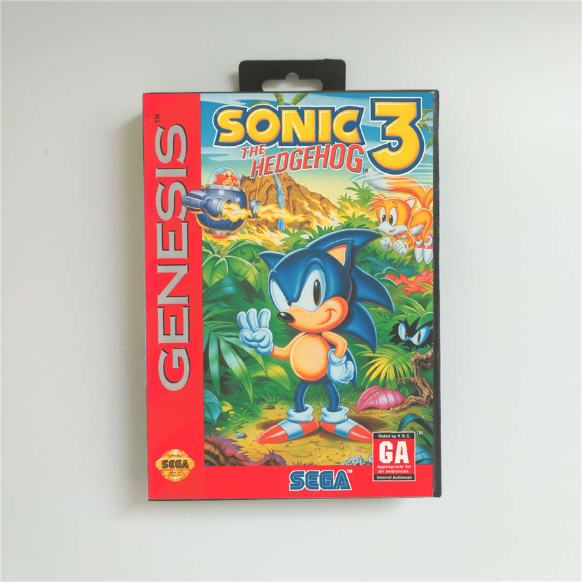 Sonic The Hedgehog 3 Usa Cover With Retail Box 16 Bit Md Game Card For Sega Megadrive Genesis Video Game Console Replacement Parts Accessories Aliexpress