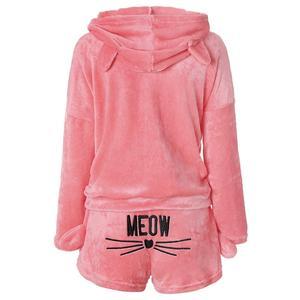 Image 4 - JULYS SONG Conjunto de pijama para mujer, Otoño Invierno, franela, dibujos animados, cálido, Animal, ropa de dormir, gato, moda para chicas