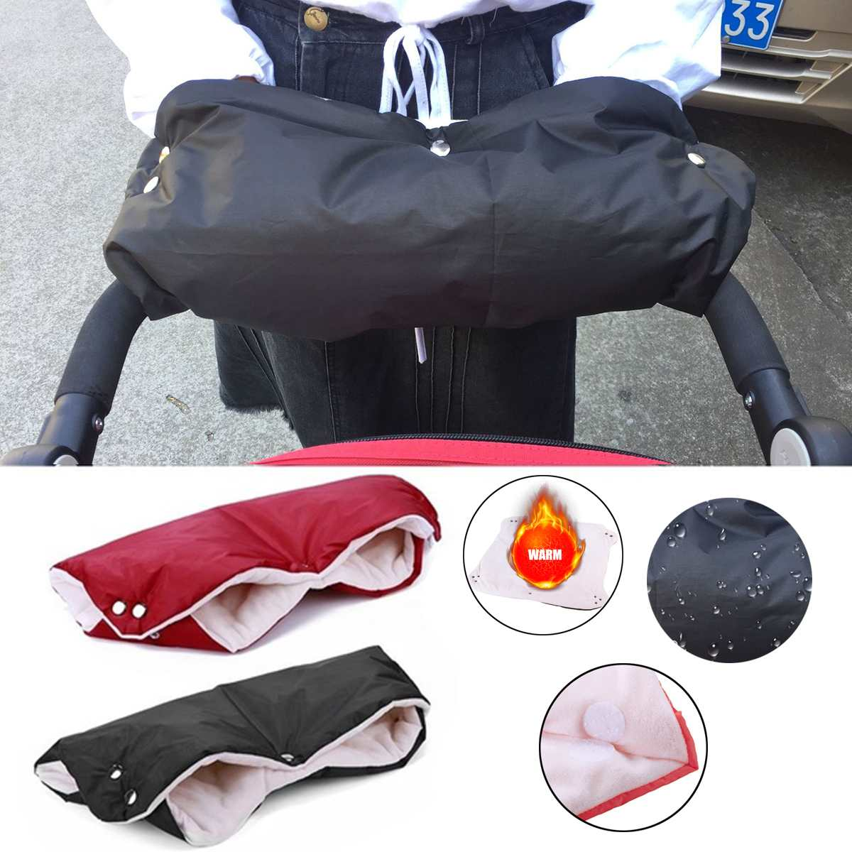 Winter Warmer Stroller Gloves Newborn Baby Push Chair Hand Mittens Windproof Gloves Waterproof Fleece Pram Accessories