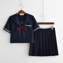 UPHYD New Plus Size Preppy Style Sweater Harajuku Japanese School Uniform Sweater+Shirt+Tie+Skirt Cosplay Costume LY1109