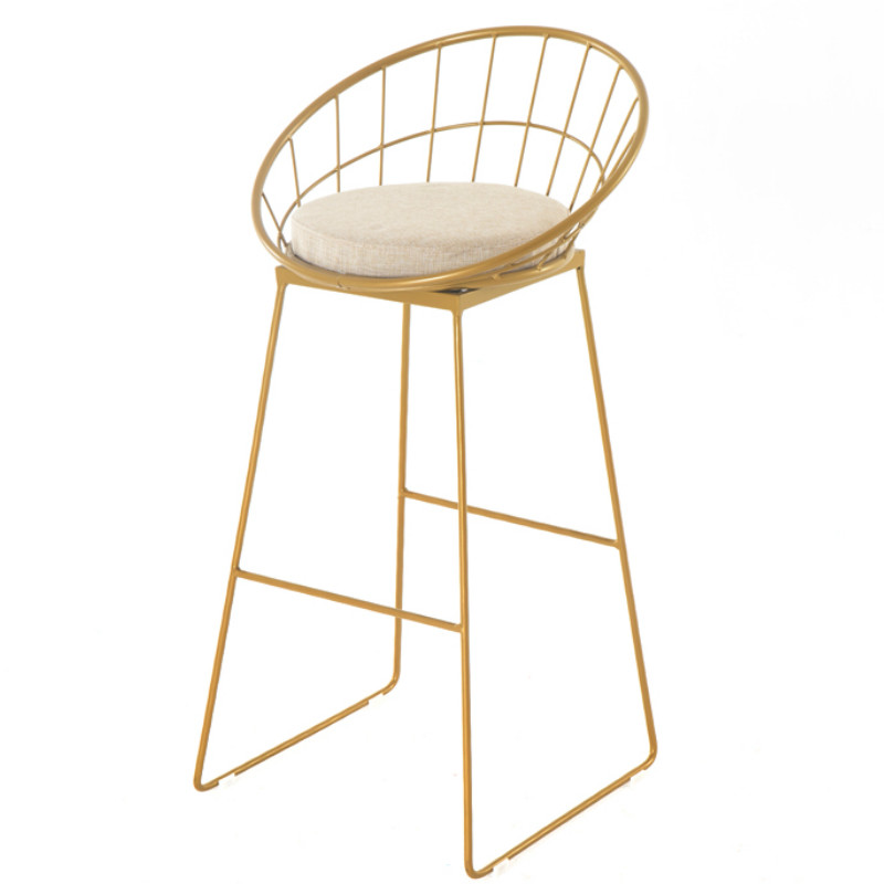 Nordic Wrought Iron Bar Stool Creative Bar Stool Home Stool High Stool Clothing Store Chair Restaurant Bar Backrest High Chair