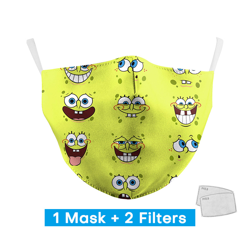 2020 Woman SpongeBob Cute Print Masks With 2 Free Filters Personal Protective PM2.5 Face Mask Adult Reusable Washable Mouth Mask