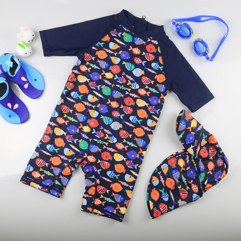 KID'S Swimwear South Korea Baby One-piece Sun-resistant Quick-Dry Warm Hot Springs Surfing Suit Boy Small Middle And Large Swims