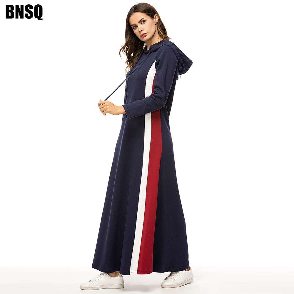 BNSQ Fashion Women Autumn Hoody Maxi Dress Drawstring Solid Long Sleeve Loose Hoodies Pullover Tracksuit Muslim Abaya Turkey