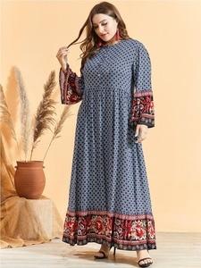 Image 4 - נשים אתני הדפסת אבוקה שרוול מוסלמי שמלה גבוהה מותן כפתור גדול Hem הרמדאן ערבית שמלת Vestidos בתוספת גודל M   3XL 4XL