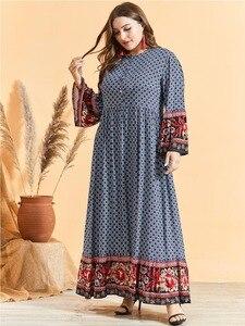 Image 4 - Feminino étnico impressão alargamento manga vestido muçulmano cintura alta botão bainha grande ramadã árabe vestido vestidos plus size m 3xl 4xl