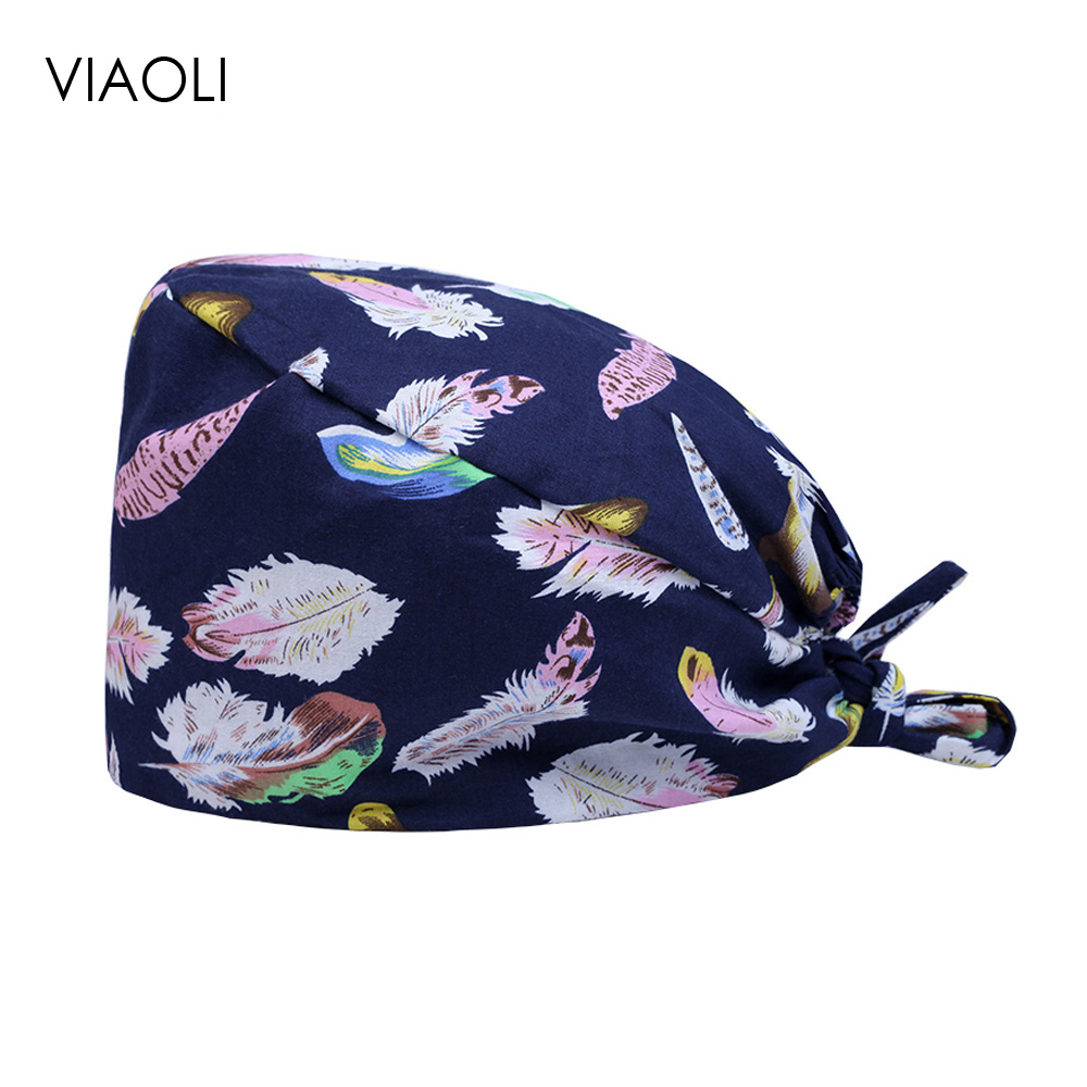 Viaoli 2020 New Feather Print Designer Surgical Cap Medical Operation Cap Pattern Elastic Surgeon Hat 100% Cotton With Sweatband