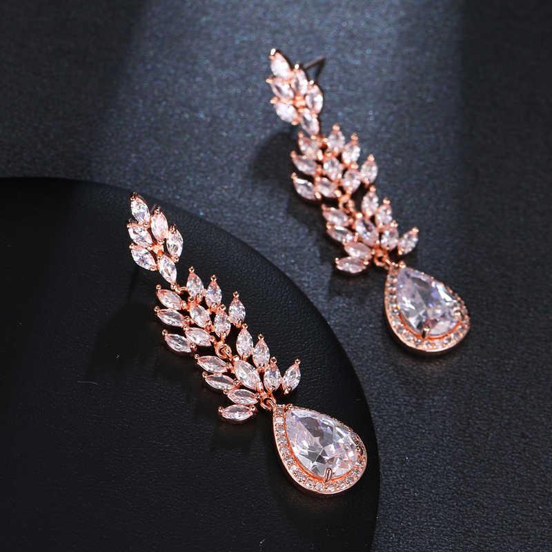 Длинные сережки в форме дерева Bettyue, большие серьги трех цветов с фианитом класса ААА для женщин и девочек, искрящееся украшение на ужин