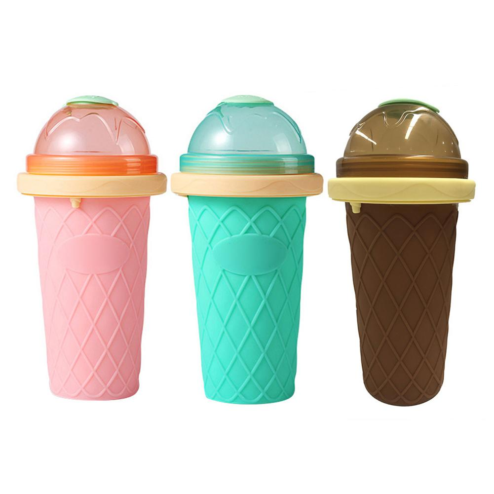 Silicone Smoothie Cup DIY Ice Cream Maker Homemade Double Layer Squeeze Cup Ice Slush Making Bottle Kitchen Tool