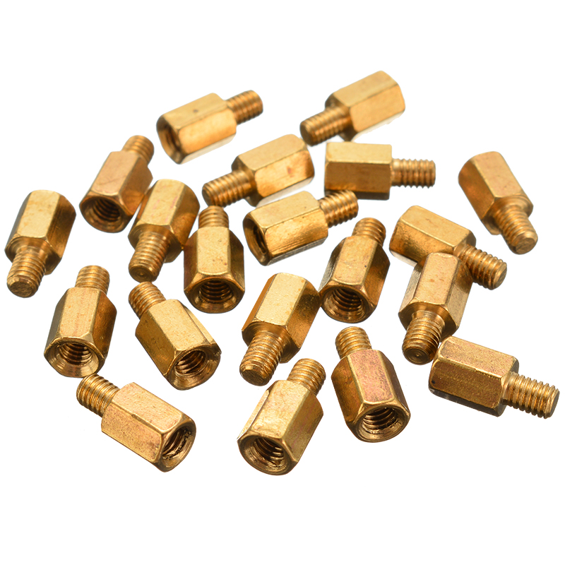 20PCS High Quality M3 6+4mm O4L0 Brass Standoff Hexagonal Spacer For PC Case PCB Board Motherboard Fastener Screw
