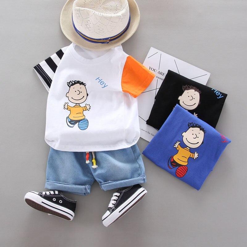 New Summer Children Casual Clothes Suit Baby Boys Girls patchwork Cartoon T Shirt Shorts 2Pcs/set Kids Infant Fashion Sportswear