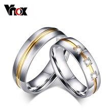 Vnox Vintage Hochzeit Ring für Frauen/Männer CZ Stein 316l Edelstahl Metall