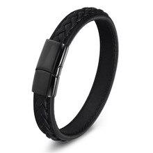Classic Men's Leather Bracelet Wholesale Stainless Steel Magnetic Bracelet Bracelet Woven Men's Gift Bracelet