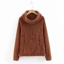 Mooirue Women Loose Restore Sweatshirt Harajuku Plush Zipper Vintage Pullover Turtleneck Casual Streetwear Solid