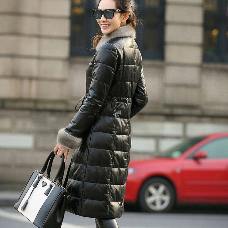 2020 New Genuine Leather Down Coats Women Top Brand Wool Fur Collar Belt Long Jackets Warm Sheepskin Overcoat Female Plus Size