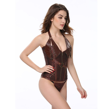2019 Sexy Gothic Studded Plus Size Corset Cool Top Corset Suit Body Shaper Unitard Embroidery Lace Up Bustie with Belt