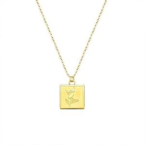 Женская цепочка из нержавеющей стали, ожерелье золотого цвета с кулоном в виде цветка розы, Подарочная бижутерия, 2021