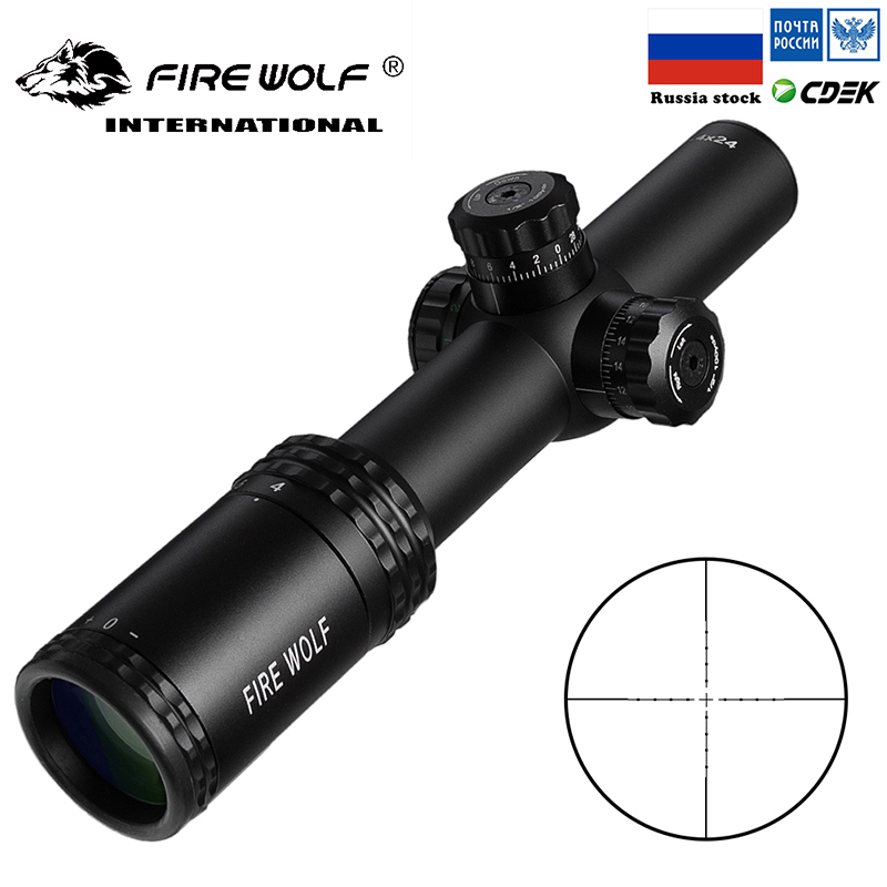 Hunting Red Dot  Scopes 1-4X24E Riflescopes Compact Rifle Scope Illuminated Reticle  W/ Mounts For AR15 AK