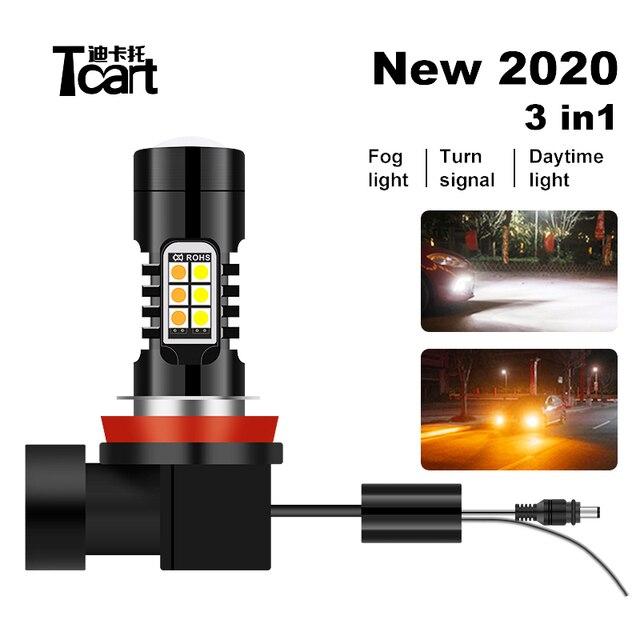 Tcart coche 2020 nuevo 3 en 1 LED de niebla día luces de giro Blanco/ámbar H11 H8 H9 h10 9006 9005 HB3 HB4 9014, 9015