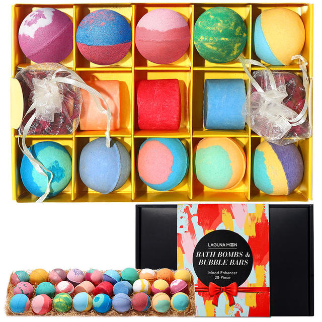 LAGUNAMOON 28Pcs Fresh Scent Multi-Flavor Bath Bombs Gift Set Bubble Bars Salt Ball Mood Enhancer Skin Moisturize