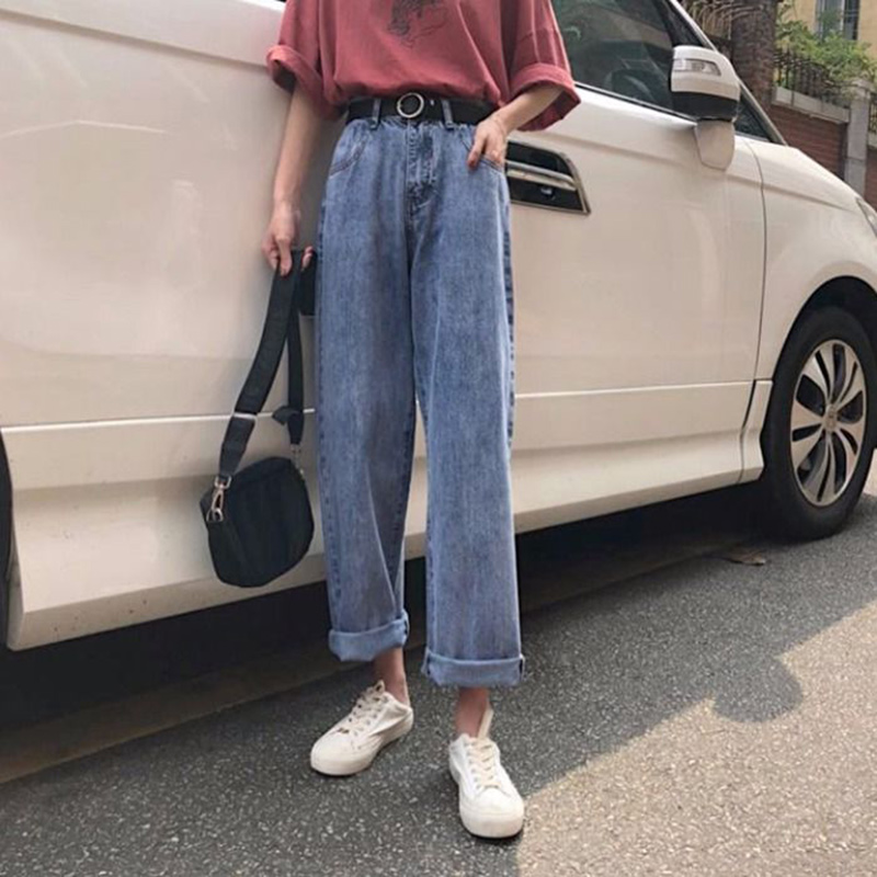 High Waist Boyfriend Jeans Women Casual Denim Pants New 2020 Fashion Korean Style All-match Loose Harajuku Jean Pants P357